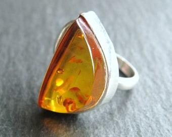Ring 925er Sterling Silver Amber Mid Century Modernist 60s Amber Silver Ring Fischland jewelry Fischland Georg Kramer Fishpunze