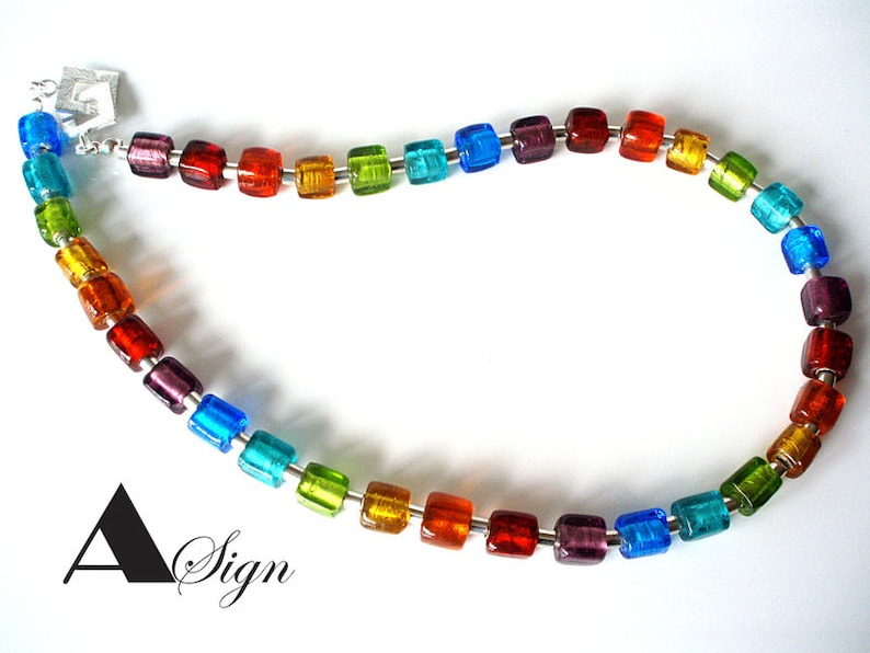 women Rainbow necklace chain glass cubes Murano Art /& stainless steel jewelry cloge bunt Candy No.3 A Sign
