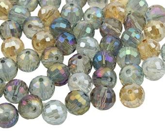 Vintageparts DIY Glasschliffperlen als Quader in hellem pfirsich mit Perlenglanz