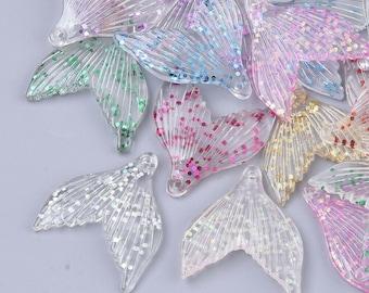 6 Fins Mermaid 33 x 29 mm Pendant Resin Colorful Glitter - 1299