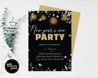 new years party invitation new years eve invite gold and black glitter new years invitation editable nye invite ring in the new year
