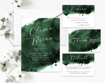 Sage Wedding Invitation Template Digital Download Sage Green Wedding Invite Set Templett Botanical Wedding #47
