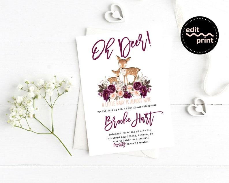 Oh Deer Baby Shower Girl Floral Baby Shower Instant Download Boho Deer Baby Shower Invitation Greenery Boho Floral Baby Invite