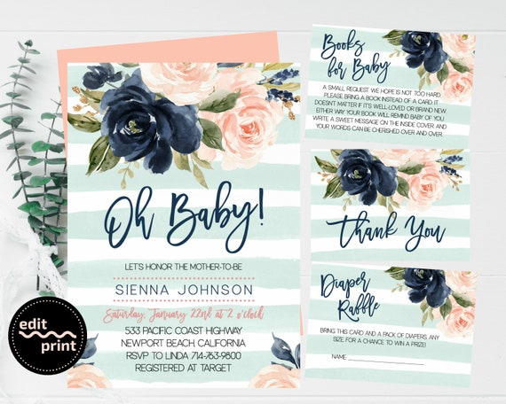 Gold Aqua Mint Stripes Oh Baby Navy Blush Floral Watercolor Oh Baby Invitation Pink Floral Greenery Gender Neutral Floral Baby Shower