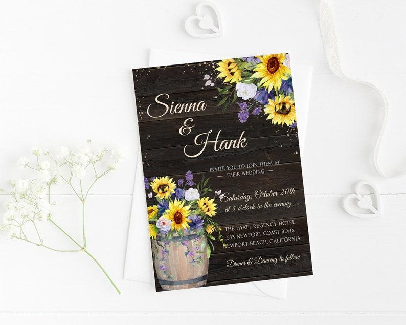 Wedding Invitation Electronic Invite Yellow Floral Rustic Sunflower Wedding Phone Evite+Printable Invite Greenery Gold Lilac Digital