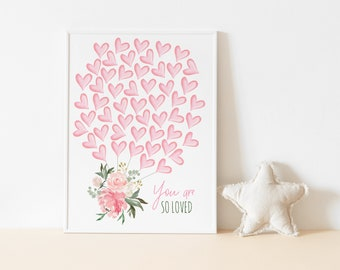 50 Balloon Hearts Guest Book, Pink Floral Guestbook Poster, Signature Sign, Baby Shower, Heart Guestbook, Pink Ivory Floral Greenery,Welcome