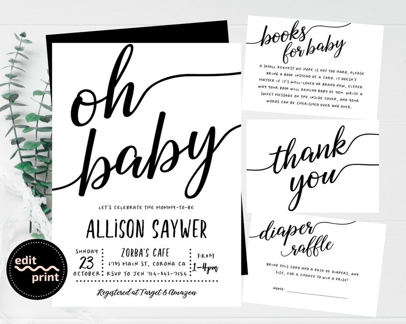 Black and White Baby Shower, Simple Invitation, Gender Neutral Baby Shower,  Modern Invite, Contemporary Baby Invite