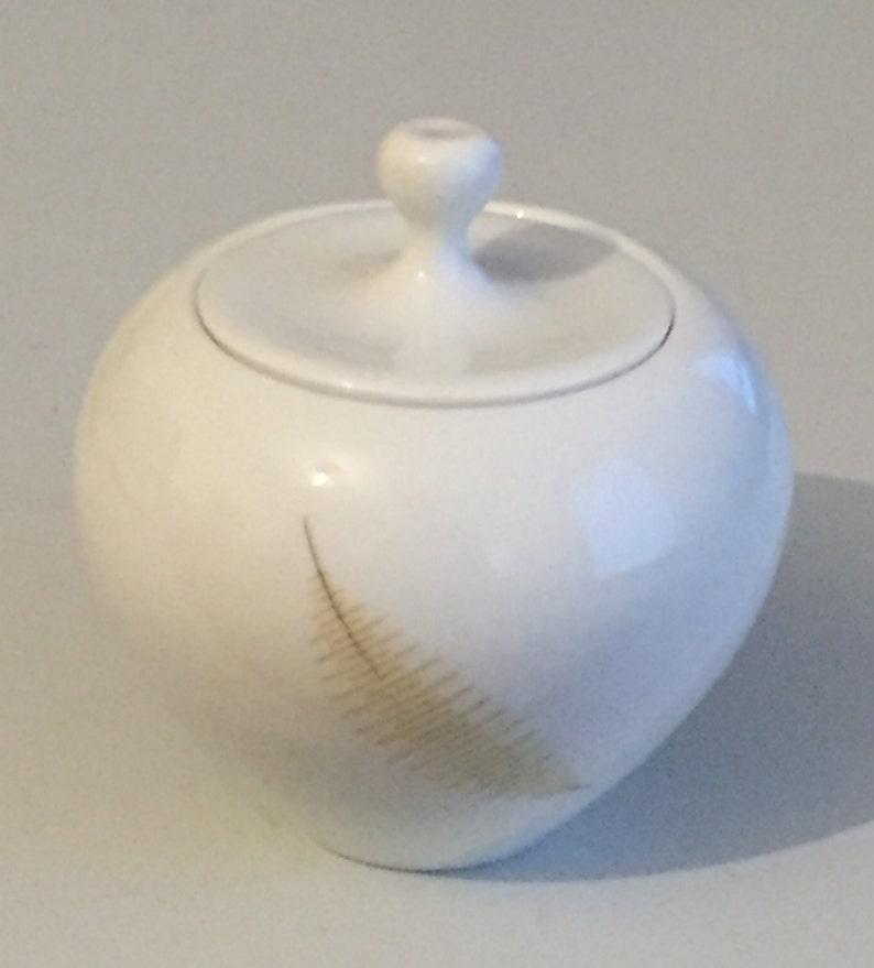 Thomas Sugar Pot Sugar Can Pastel Leaf Detors Fifties Fifties mid century modern
