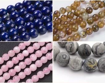 4mm Steinperlen Stone Beads frosted natural 90-96Stück Fädelloch 1mm