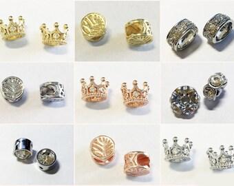 2 Stück #A20684 Silber Edle Perlenkappen Krone mit Strass