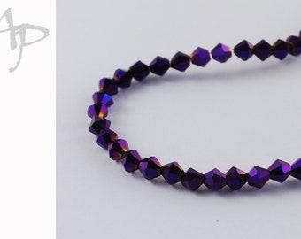 4mm Glasschliffperlen Bicone 118St #9308 violett