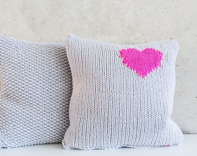 Knitting pillows Men's heart neon-pink