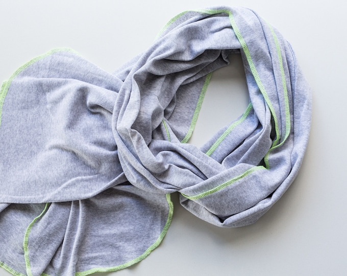 Scarf light grey neon lemon
