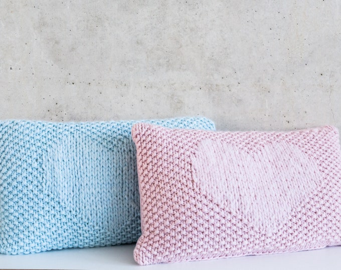 Wool pillow heart pink or light blue 30 x 50 cm