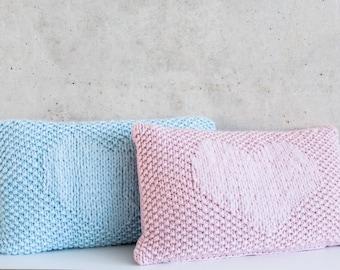 Wool pillow heart pink or light blue 30 x 50 cm