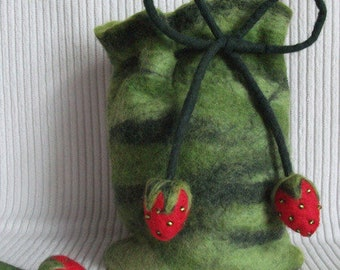 Small bag of felt with strawberries