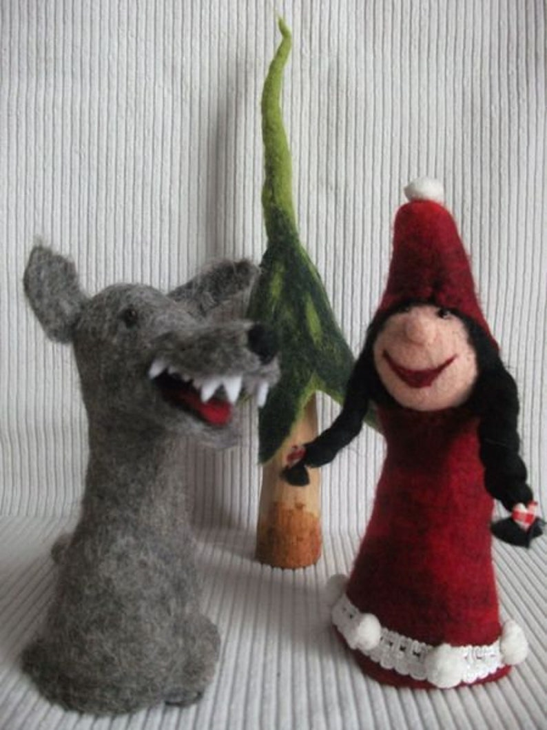 Red Riding Hood and the Wolf Egg Warmer Set of Felt Hand image 0