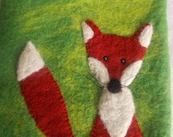 """Heat bottle with felt cover """"fox"""" hand-felted"""
