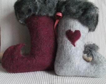 Nikolaus boots with felt heart with fur cuff