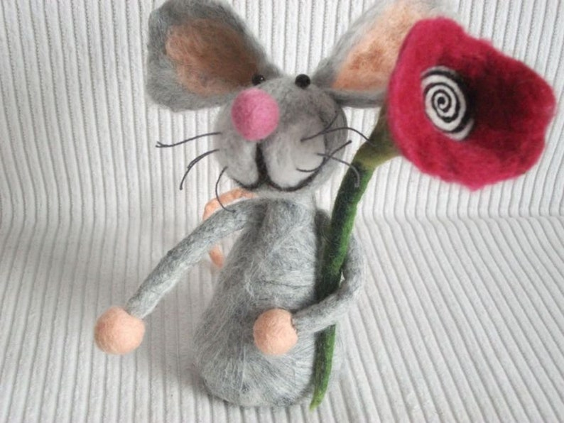 Happy Birthday  Mouse Congratulations for Birthday Felt Mouse image 0