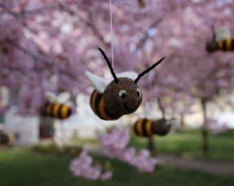 Honeybee bee made of felt for hanging decoration