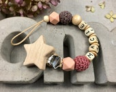 Pacifier necklace with name, dark pink, mocha, peach, natural