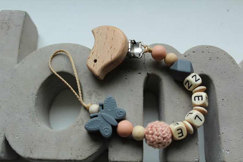 Pacifier chain grey apricot