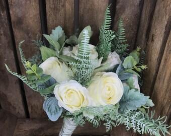 e4e35a7c47 Cream rose and greenery winter wedding bouquet brides bouquet artificial    silk