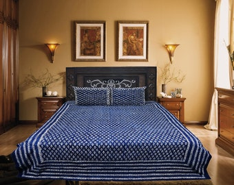 FREE SHIPPING INDIGO Blue Hand block Printed Bed Sheet Indian Handmade Bohemian Bed sheet Blanket Bedspread Cover Hippie Dyed Bed Sheet Set