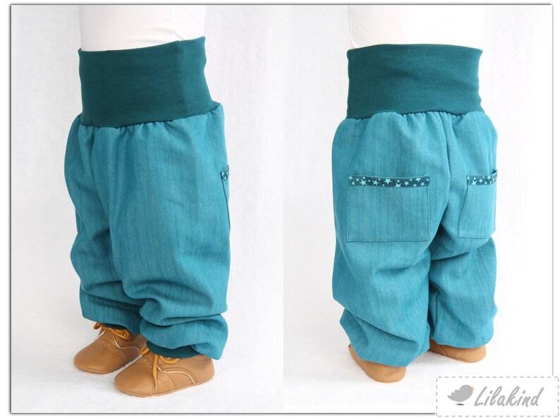 ead22c3031 Lilakind Pumphose pants Boys trousers jeans blue petrol star | Etsy