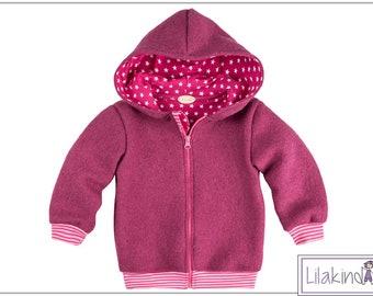 Purple child girl walk jacket jacket winter jacket wool jacket hooded jacket zipper pink striped cuff lining with asterisks