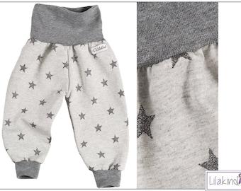Lilakind Baby pants Pumphose baby pants girl pants Sweathose grey dark grey glitter stars