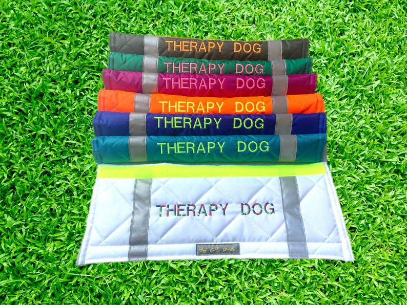 THERAPY DOG Dog Lead Slip Cover  or personalise text all languages