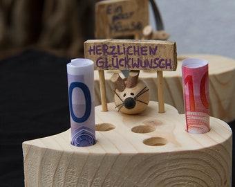 Kaseecke Mit Maus Aus Holz Als Geldgeschenk Etsy