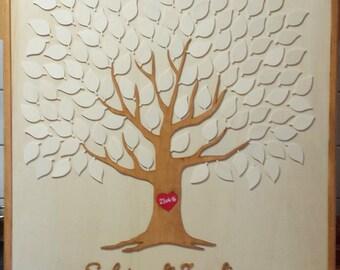 Wedding Tree Weddingtree Wedding Guest Book Wedding Guestbook Fingerprint 3D Wood