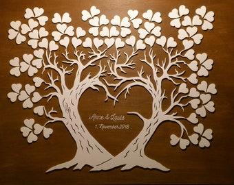 Hochzeitsbaum Weddingtree Hochzeitsgästebuch Fingerprint 3D aus Holz mit Herz