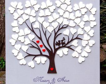 Wedding Tree Weddingtree Fingerprint 3D with birds made of wood