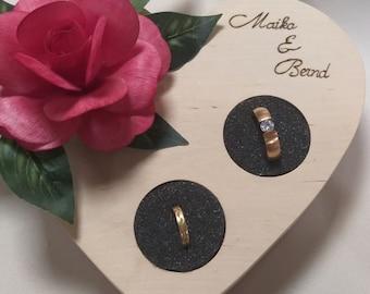 Wedding Individual wooden ring cushion with individual caption