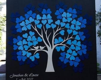 Wedding tree Weddingtree 3D wood with color gradation of hearts