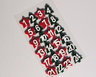 Adventskalender Zahlen 1 - 24 aus Holz in rot und grün