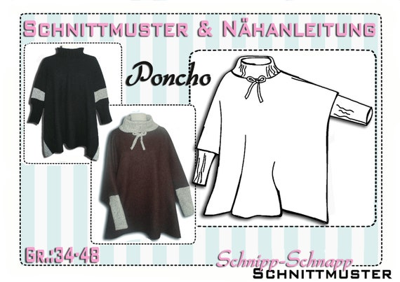 pdf.Schnittmuster & Anleitung Poncho Gr.:34-48 | Etsy
