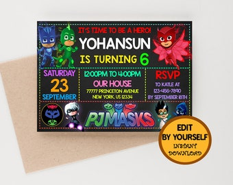 Pj Masks Invitation Birthday Instant Download Party Favors