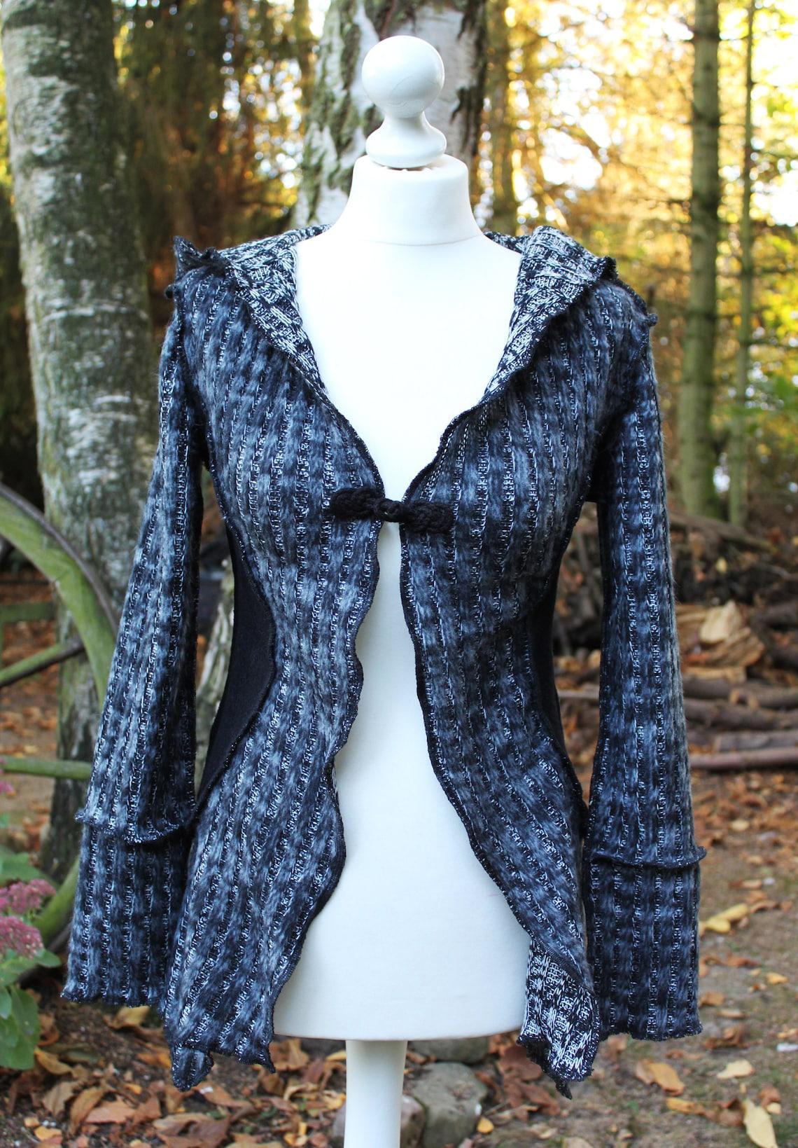 Zip Jacket Nona 05, Jacket, Wool Blazer, Blazer Black Grey Cardigan, Handmade