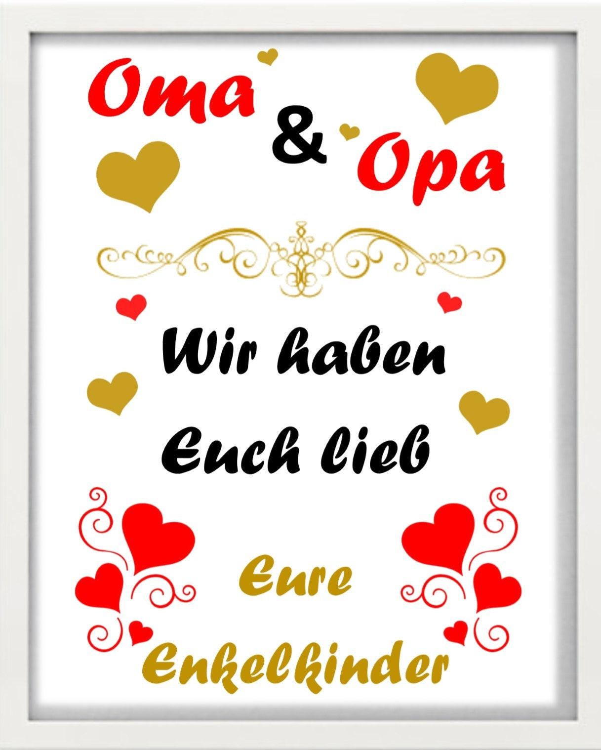 Bilderrahmen Oma & Opa wir haben euch lieb | Etsy