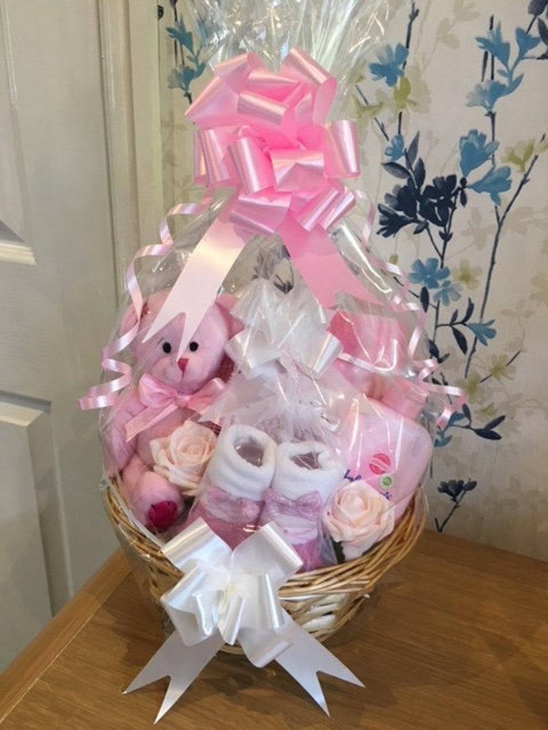 New baby girl pink nappy cake /& heart gift basket//hamper baby shower maternity