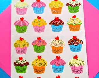 Mrs Grossman CUPCAKES REFLECTIONS Stickers CUPCAKES AND CANDLES SPARKLE