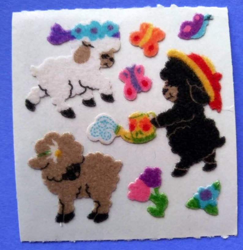 Fuzzy Sandylion Black Sheep Vintage Sticker Mod- 80/'s Sheep Family Straw Hat Ewe Water Can Floral  Crown Lambs