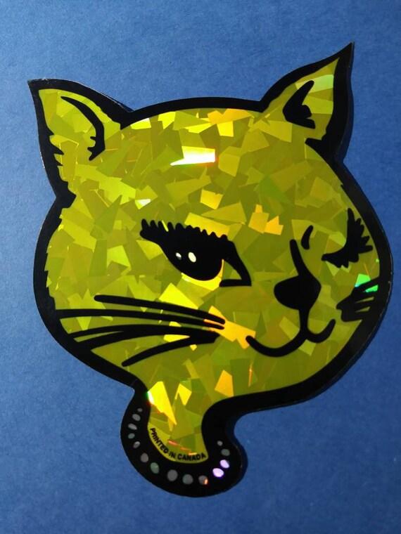 Vintage Prism Vending Machine Sticker VTG RARE 80s 90s creepy cat