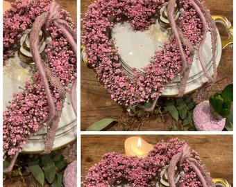 Veiled herb heart - ca 17 cm - colour-fast decoration - floristry