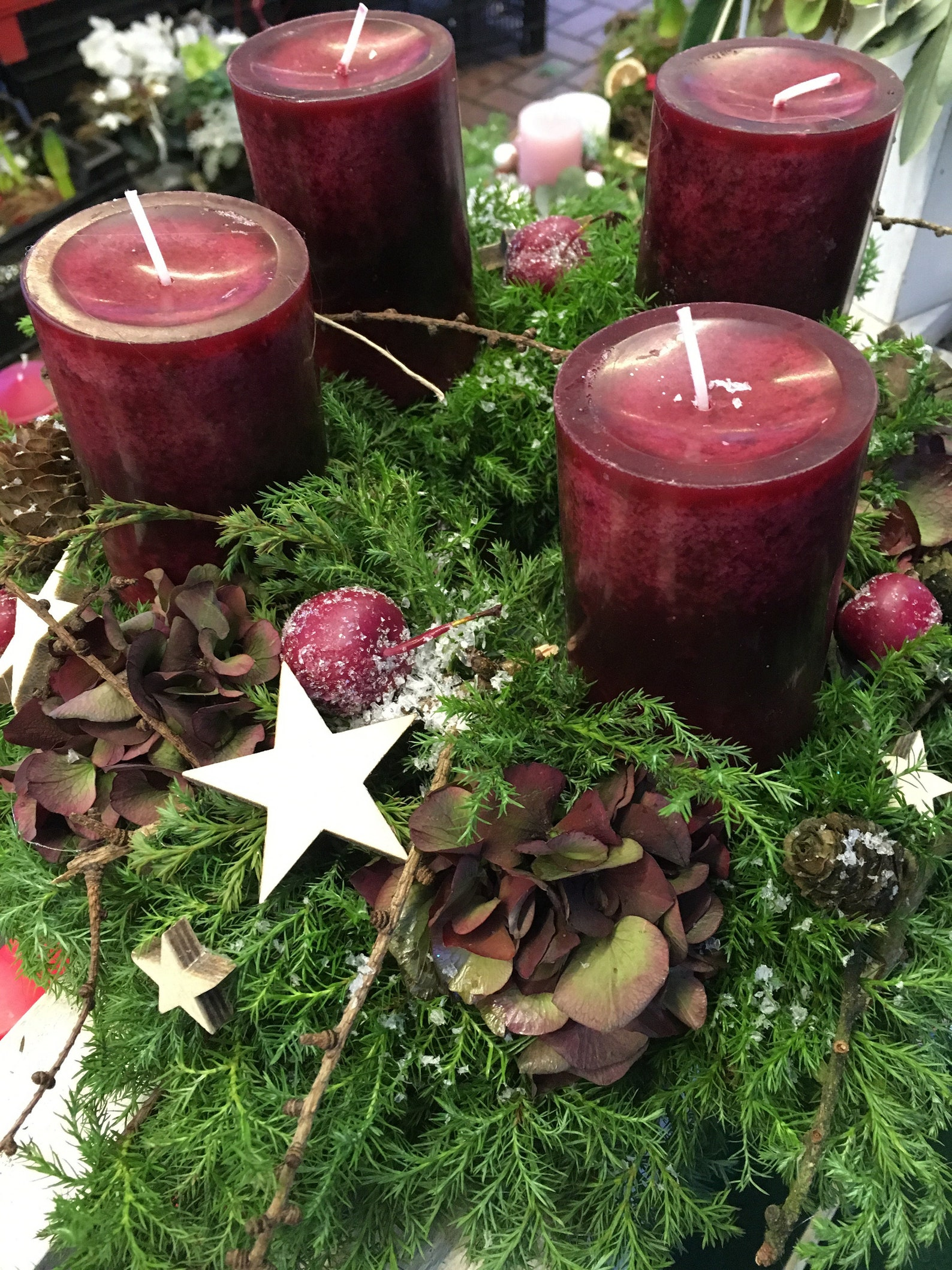 Advent wreath in bordeaux red with hydrangea - Noble wreath - approx. 35 cm dreams